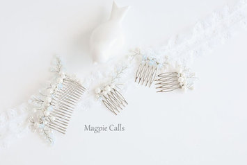 Darcy Pearl and Crystal Comb set by Magpie Calls