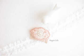 Jane blush and ivory handbeaded comb by Magpie Calls