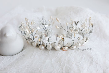 Leigh Silver and pearl tiara crown by Magpie Calls