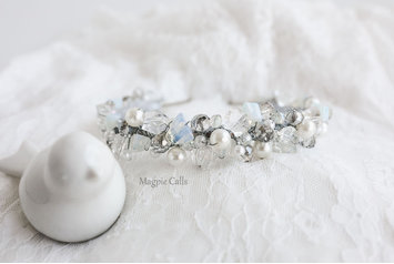 Elsa Crystal and Pearl headband crown by Magpie Calls