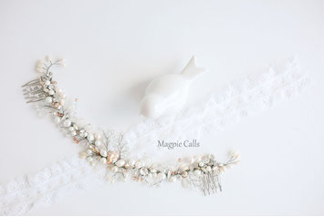 Thobile pearl and rhinestone comb headpiece by Magpie Calls