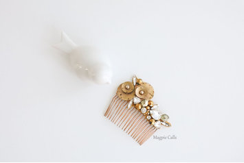 Stevie modern organic Gold and Rhinestone comb by Magpie Calls