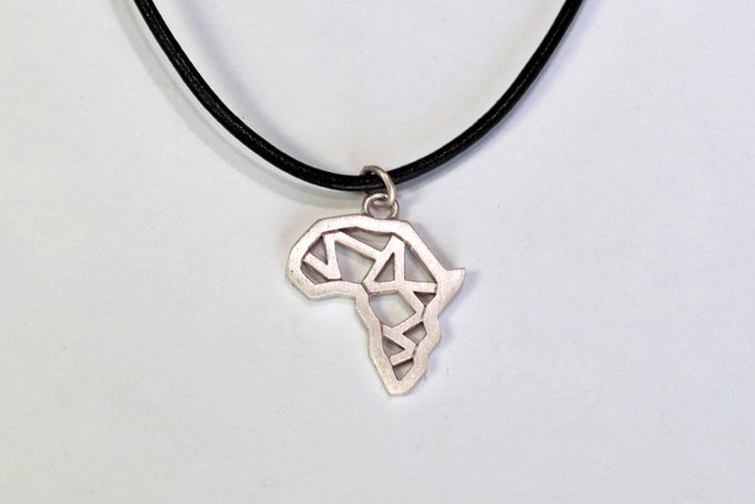 africa polygon pendant on leather in sterling silver