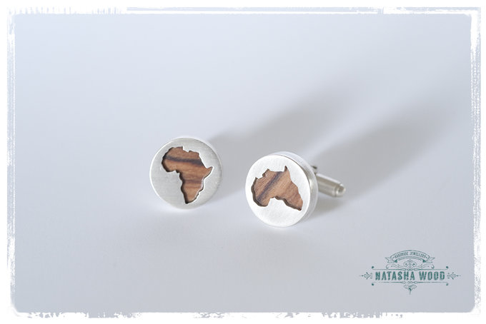 Silver And Olive Wood Africa Mens Cufflinks By Natasha
