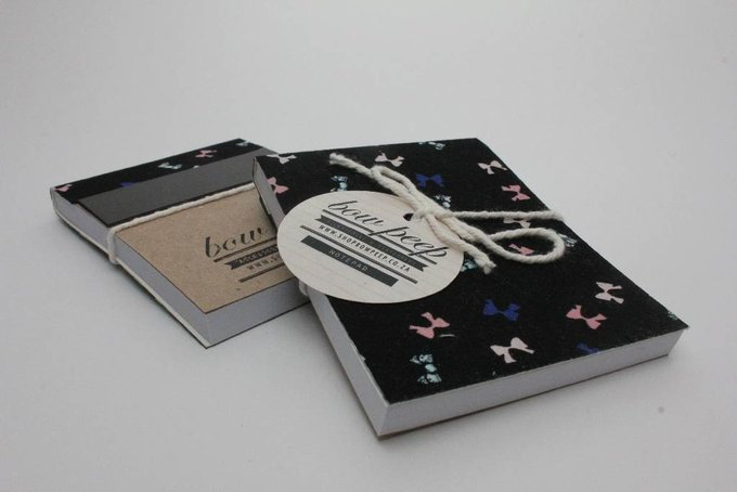Magnetic Note Pad Black with Little Bows by Bow Peep