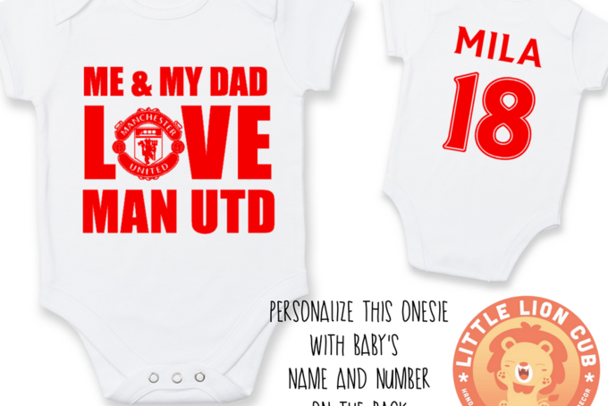 3-6 Months Babygrow Me and Daddy Love Man United Baby Grows Suit Boys Bodysuit Manchester Utd Vest