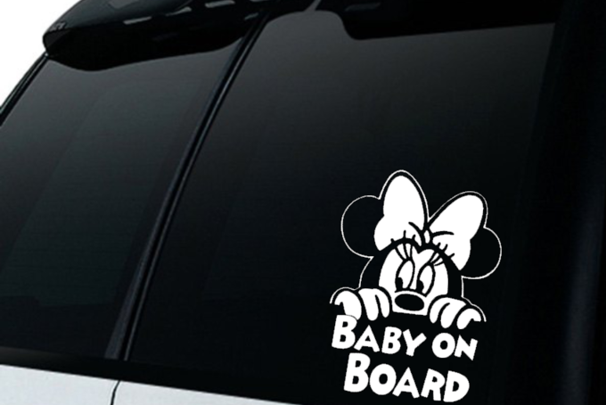 Minnie Mouse Baby On Board Car Decal Sticker Minnie