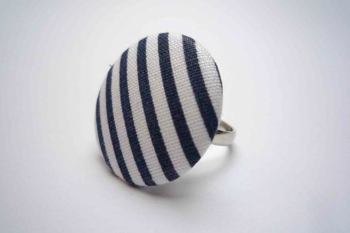 Navy Blue and White Striped Button Ring by Bow Peep