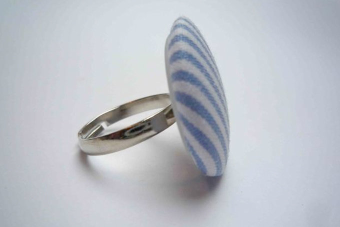 Light Blue and White Striped Button Ring by Bow Peep