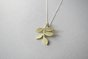 Brass Leaves Pendant on Silver Chain by Liwo Design