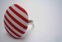 Red and White Striped Button Ring by Bow Peep